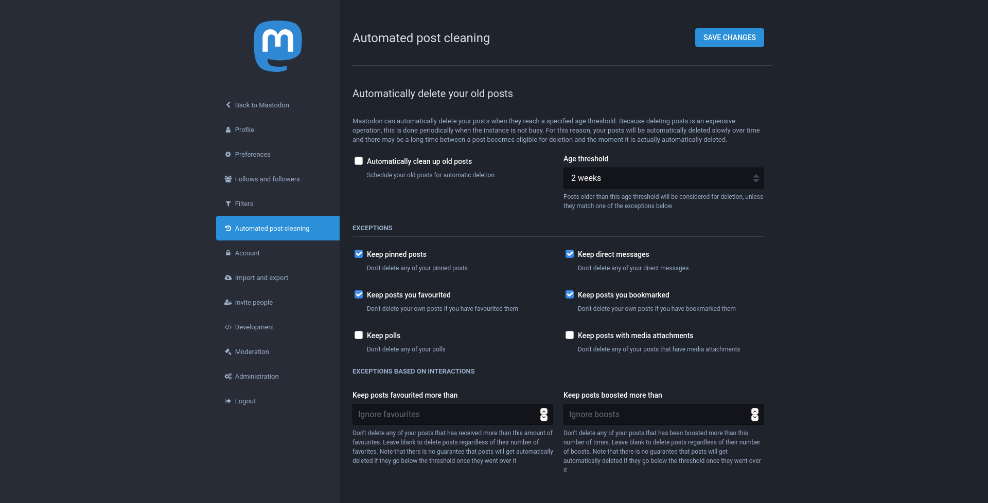 """Screenshot of a new Mastodon setting section called """"Automated post cleaning"""" with options such as """"Age threshold"""", """"Keep pinned posts"""" or """"Keep posts favourited more than"""""""